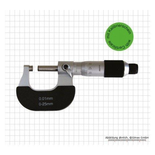 Mikrometrs 0-25mm 0.01mm kalibrēts, ar sertifikātu