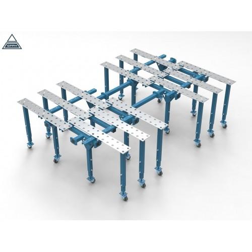 Metināšanas darba galds 1700 x 2630 mm (2x 1000x1000 + konektors L630mm + 10x kājas)