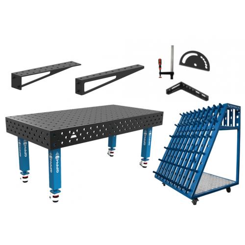 Metināšanas darba galds 2000 x 1000 mm, instrumentu ratiņi un piederumi