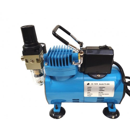 Airbrush kompresors TC-20CF zils ar Magma ventilatoru